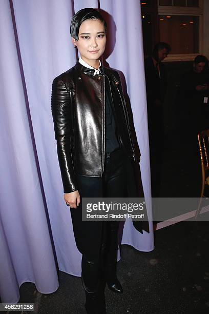Chinese singer and actor Li Yuchun attends the Givenchy show as part of the Paris Fashion Week Womenswear Spring/Summer 2015 on September 28 2014 in...