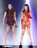 Chinese singer Jolin Tsai and Japanese singer Namie Amuro perform on the stage during Jolin Tsai's '2015 PLAY' World Tour concert on May 25 2015 in...