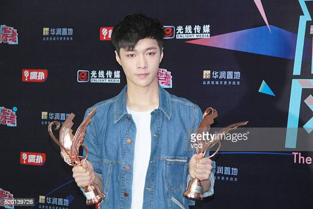 Chinese singer LAY Zhang Yixing of South Korean boy group EXO attends the 16th Top Chinese Music Annual Festival on April 9 2016 in Shenzhen...