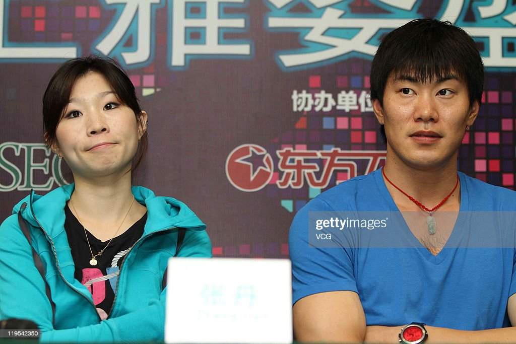 Chinese skaters <a gi-track='captionPersonalityLinkClicked' href=/galleries/search?phrase=Zhang+Dan&family=editorial&specificpeople=813902 ng-click='$event.stopPropagation()'>Zhang Dan</a> and <a gi-track='captionPersonalityLinkClicked' href=/galleries/search?phrase=Zhang+Hao&family=editorial&specificpeople=813903 ng-click='$event.stopPropagation()'>Zhang Hao</a> attend 'Artistry On Ice' press conference at Mercedes-Benz Arena on July 21, 2011 in Shanghai, China.
