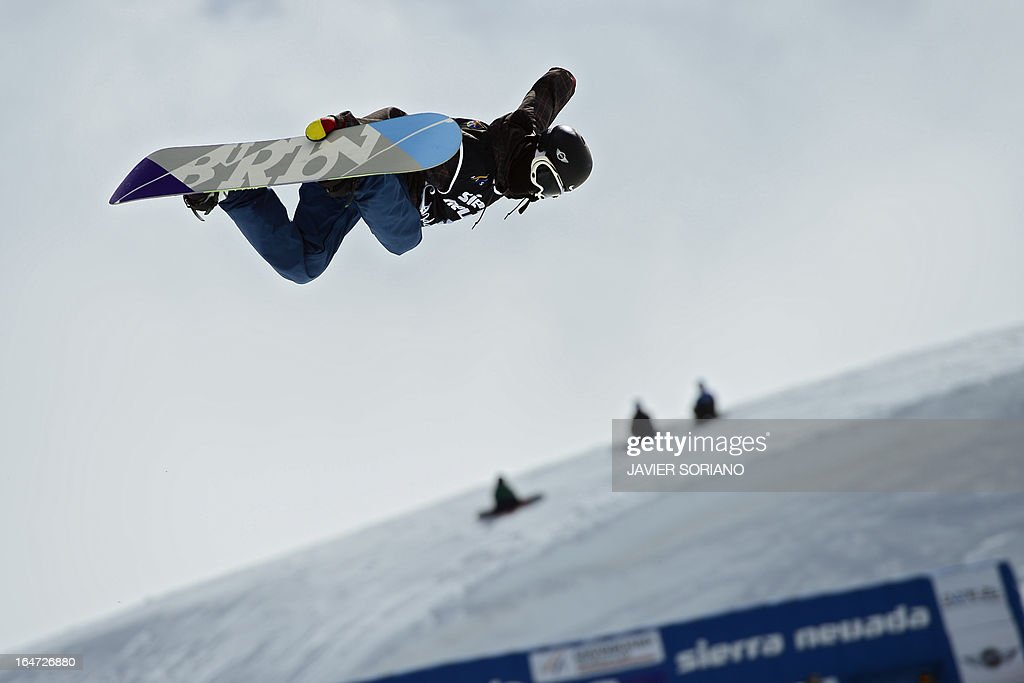 Chinese snowboarder Yiwei Zhang competes in the Men's Half-Pipe final race at the Snowboard and FreeStyle World Cup Super finals at Sierra Nevada ski resort near Granada on March 27, 2013. Yiwei Zhang took seventh place of the event.