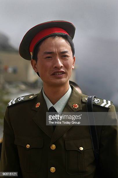 Chinese soldier at Nathu La Trade between India and China is set to begin on July 6th 2006 as the 14000ft high Nathu La pass in Sikkim opens for the...