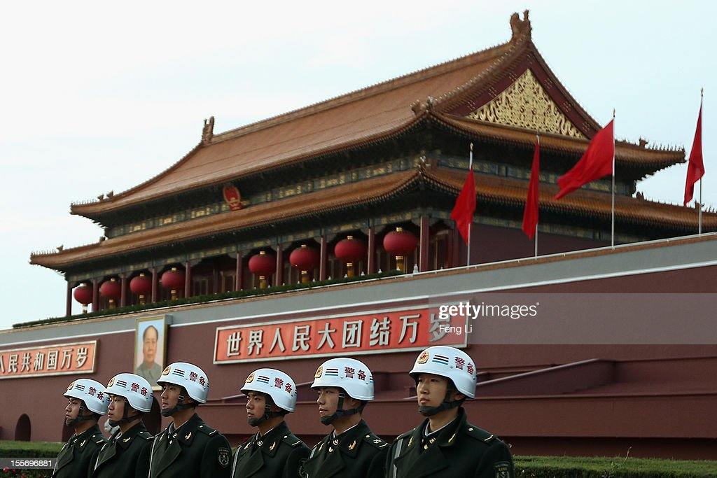 Chinese soldiers guard in front of the Tiananmen Gate on November 7, 2012 in Beijing, China. The18th National Congress of the Communist Party of China (CPC) is proposed to convene on November 8 in Beijing.