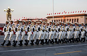 Chinese soldiers march passed the Great Hall of the People inTiananmen Square before a military parade on September 3 2015 in Beijing China China is...