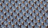 Chinese soldiers stand at attention inTiananmen Square before a military parade on September 3 2015 in Beijing China China is marking the 70th...