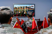 Chinese soldiers watch live broadcast of Chinese 93 military parade Ganyu District on September 3 2015 in Lianyungang Jiangsu Province of China China...
