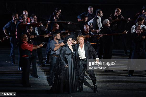 Chinese soprano Hui He as Leonora and French tenor Roberto Alagna as Manrico perform the opera 'Il Trovatore' by Guiseppe Verdi directed by Charles...