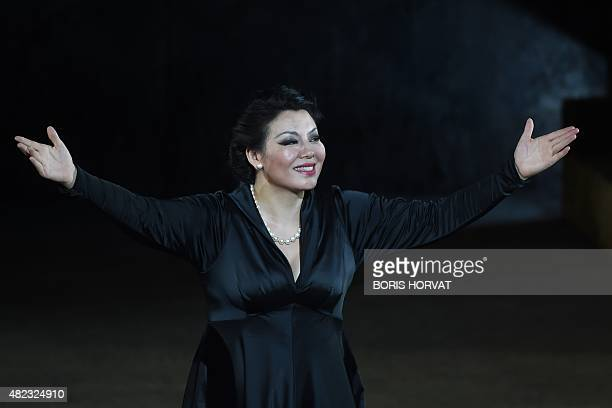 Chinese soprano Hui He as Leonora gestures to the audience after performing the opera 'Il Trovatore' by Guiseppe Verdi directed by Charles Roubaud...