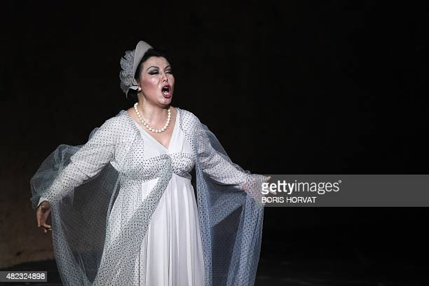 Chinese soprano Hui He as Leonora performs during the opera 'Il Trovatore' by Guiseppe Verdi directed by Charles Roubaud and conducted by Bertrand de...