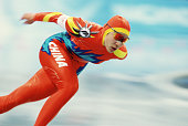 Chinese speed skater Ruihong Xue competes in the women's 1000m at MWave during the 1998 Winter Olympic games