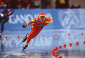 Chinese speed skater Xuesong Li competes in the women's 1000m at MWave during the 1998 Winter Olympic games