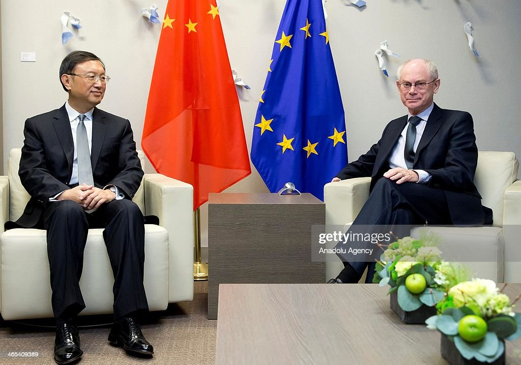 Chinese State Councillor Yang Jiechi (L) meets with European Council President Herman Van Rompuy at the EU Council in Brussels, Belgium, on January 27, 2014.