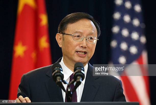 Chinese State Councilor Yang Jiechi delivers remarks during the joint opening session of the Strategic and Economic Dialogue and Consultation on...