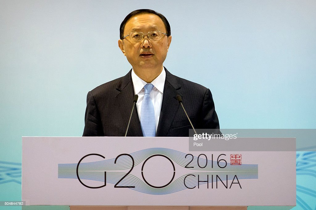 Chinese State Councilor Yang Jiechi speaks at the 2016 First G-20 Sherpa Meeting on January 14, 2016 in Beijing, China. The 2016 G-20 summit will be held in Hangzhou in eastern China's Zhejiang province in September.