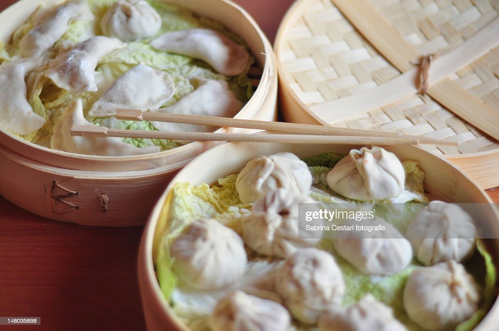 Chinese steamed dumplings : Stock Photo