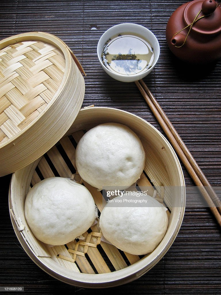 Chinese Steamed Lotus Buns : Stock Photo