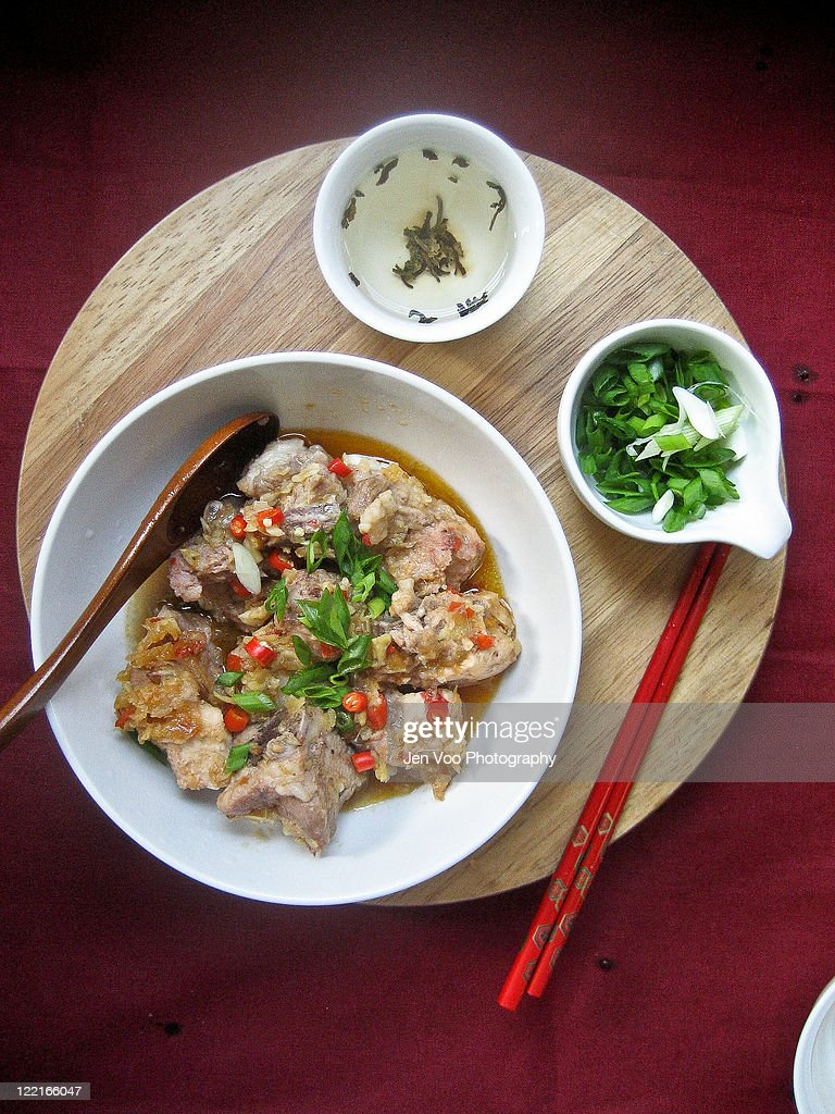 Chinese steamed plum spareribs : Stock Photo