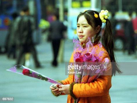 Chinese street vendor carries roses for sale February 14 2002 on a street in Beijing Roses are still the most favorite gift among young people during...