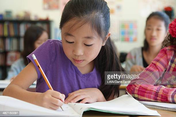 Chinese student working in class
