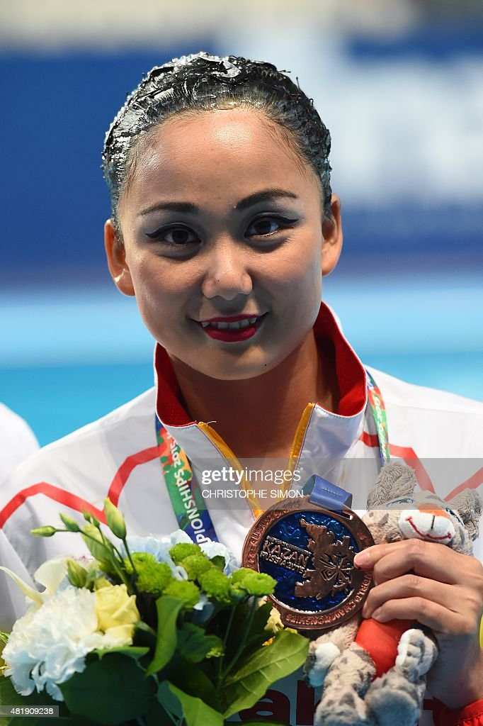 <b>...</b> synchronised swimming competition at the 2015 <b>FINA World</b> Championships <b>...</b> - chinese-sun-wenyan-poses-with-her-bronze-medal-during-the-podium-of-picture-id481909238
