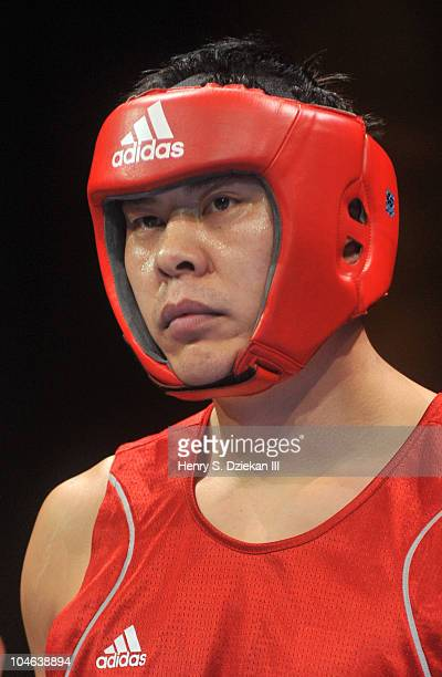Chinese Super Heavyweight Boxer Zhang Zhilei attends Empires Collide China vs USA amateur boxing at Capitale on October 1 2010 in New York City