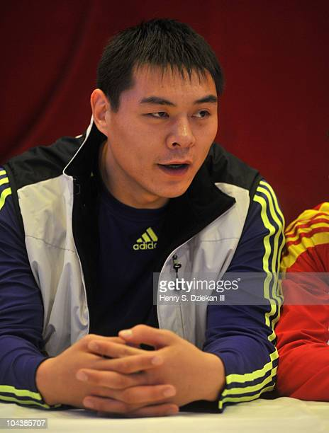 Chinese Super Heavyweight Boxer Zhang Zhilei attends the 'Empires Collide' boxing press conference at Jing Fong Restaurant on September 23 2010 in...