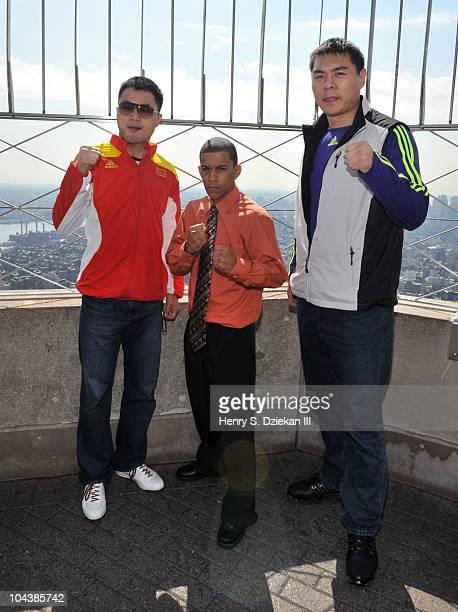 Chinese Super Middleweight Boxer Zhang Jianting American Light Bantamweight Boxer Miguel Cartagena and Chinese Super Heavyweight Boxer Zhang Zhilei...