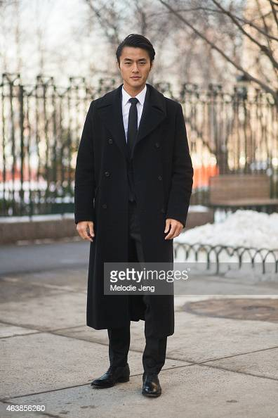 Chinese supermodel Zhao Lei attends the Hugo Boss show in a Hugo Boss suit on the streets of Manhattan on February 18 2015 in New York City