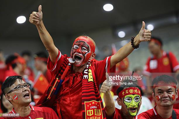Chinese supporters cheer prior to the 2018 FIFA World Cup Qualifier Final Round Group A match between South Korea and China at Seoul World Cup...