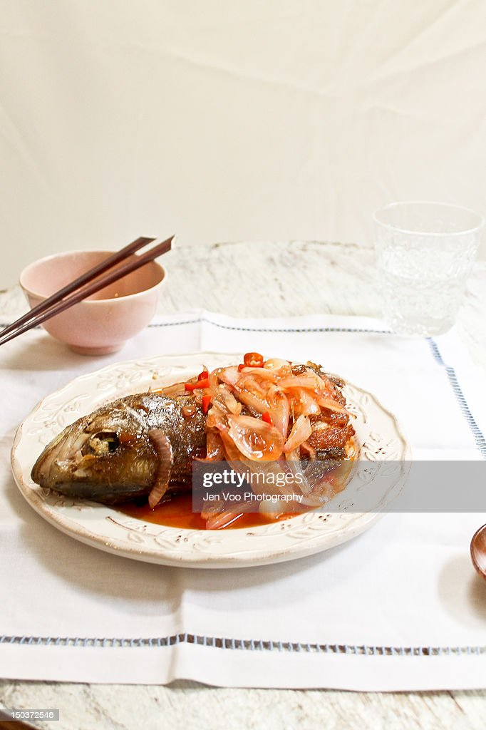 Chinese sweet and sour fish : Stock Photo