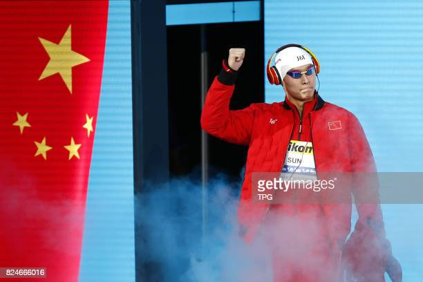 Chinese swimmer Sun Yang wins the gold medal in the mens 200m freestyle with 1 minute4439 seconds at the 17th FINA World Championshipson July 25 2017...