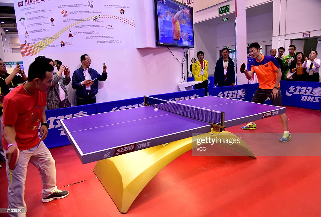 Chinese table tennis player Wang Liqin attends Double Happiness activity on day two of the 2015 World Table Tennis Championships on April 27, 2015 in Suzhou, China.