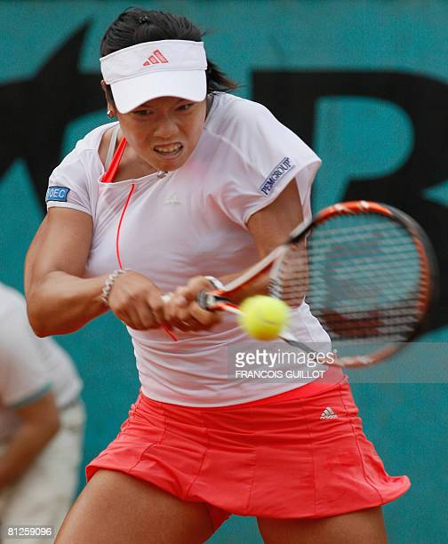 Chinese Taipei player YungJan Chan hits a return to her Bulgarian opponent Tsvetana Pironkova during their French tennis Open first round match at...