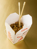 Chinese take out with chopsticks