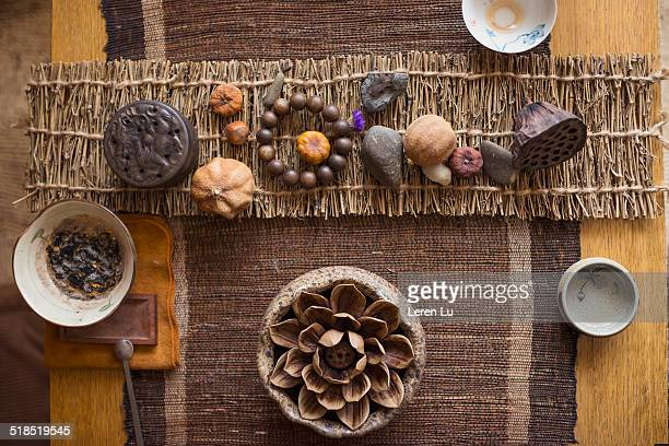 Chinese tea set and Zen decoration