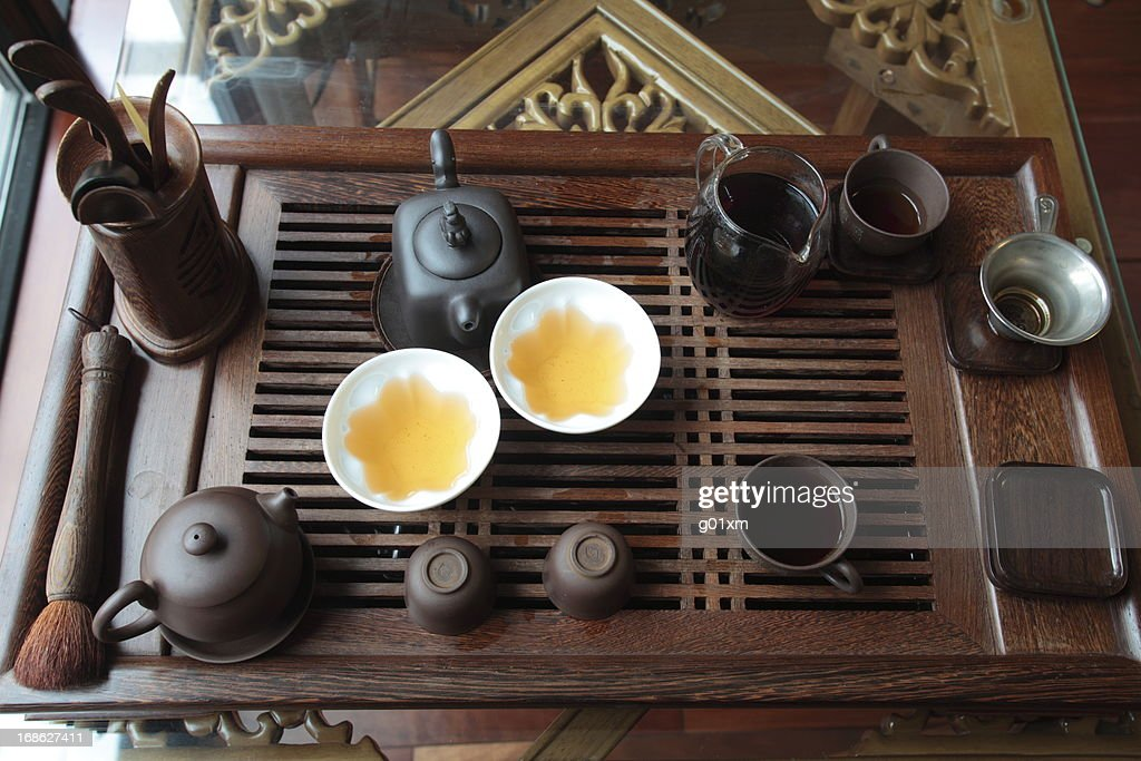 Chinese tea set on the table : Stock Photo