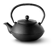 Black chinese teapot isolated on a white background