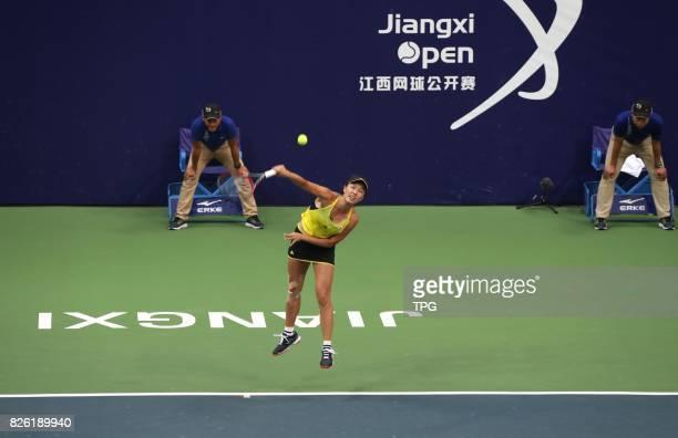 Chinese tennis player Peng Shuai wins the 2017 Jiangxi Open championship by defeating Japanese tennis player Nao Hibino with 63 and 62 in Nanchang...