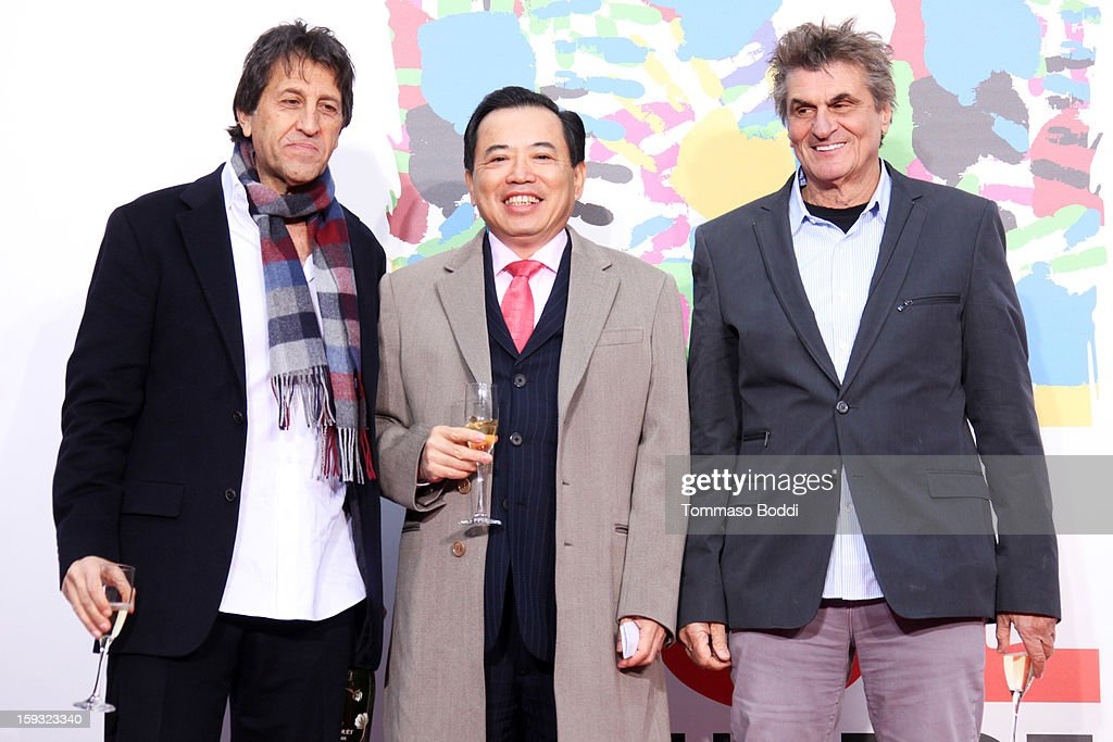 Chinese Theatre co-owner Elie Samaha, TCL Chairman Li Dongsheng and Chinese Theatre co-owner Donald Kushner attend a press conference announcing the renaming of Grauman's Chinese Theatre to the TCL Chinese Theatre held at the Chinese Theatre on January 11, 2013 in Hollywood, California.