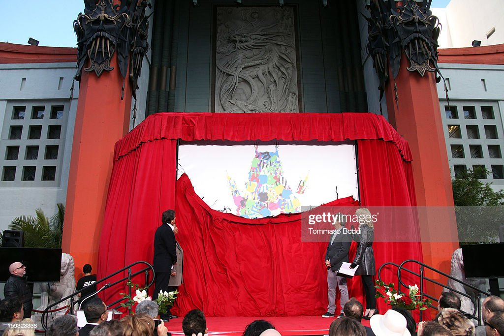 Chinese Theatre co-owner Elie Samaha, TCL Chairman Li Dongsheng, Chinese Theatre co-owner Donald Kushner and actress McKensie Westmore attend a press conference announcing the renaming of Grauman's Chinese Theatre to the TCL Chinese Theatre held at the Chinese Theatre on January 11, 2013 in Hollywood, California.