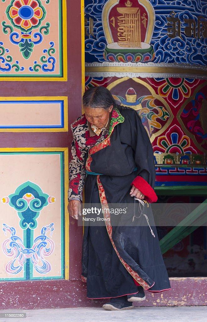 Chinese Tibetan woman in Qinghai Province China.
