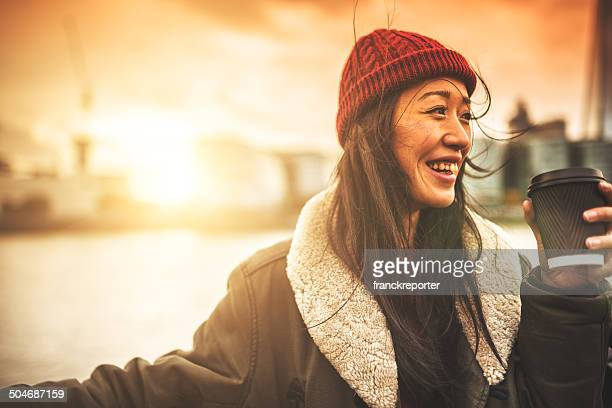 chinese tourist smiling in London
