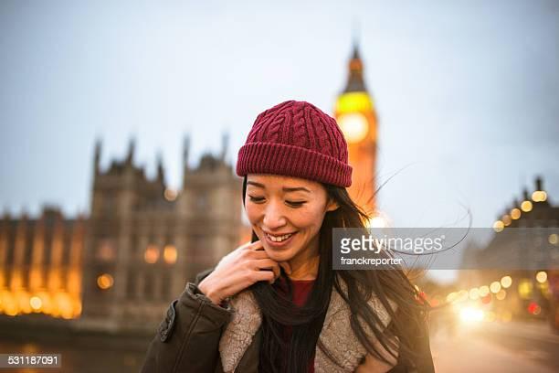 Touristes chinois Femme marchant dans les rues de Londres