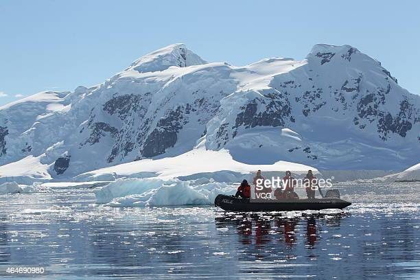 Chinese tourists visit the Paradise Bay on November 23 2014 in Antarctica