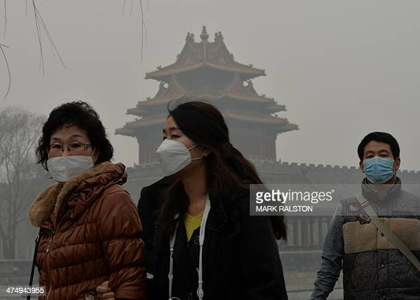 Chinese tourists wear face masks while walking past the Forbidden City as heavy air pollution continues to shroud Beijing on February 26 2014...