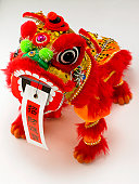 Chinese toy dragon on white background