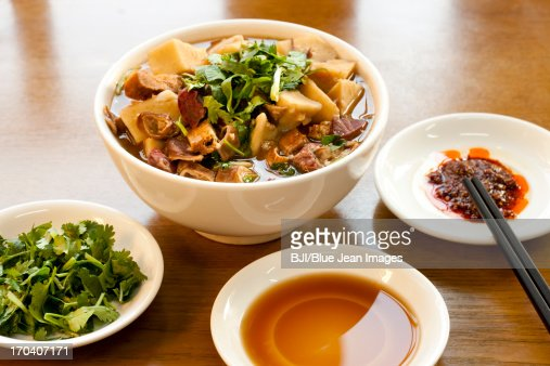 Chinese traditional food sheep's haslet soup : Stock Photo