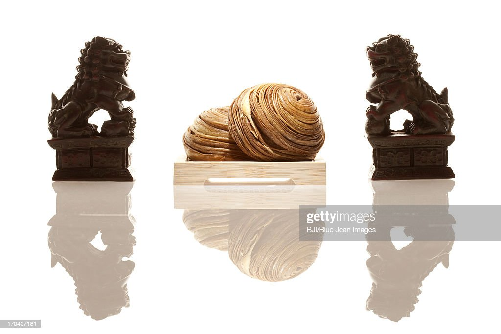 Chinese traditional food snail-shaped bun : Stock Photo