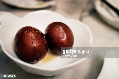 Chinese traditional tea eggs : Stock Photo