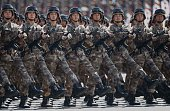 Chinese troops march during a military parade to mark the 70th anniversary of the end of World War Two on September 3 2015 in Beijing China China is...